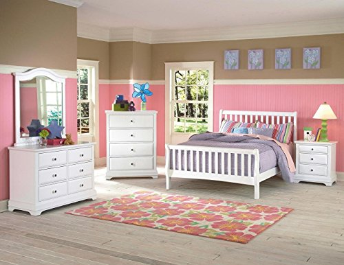 Beatrice Youth 5 Piece Twin Sleigh Bedroom Set in White Finish by NCF Furniture