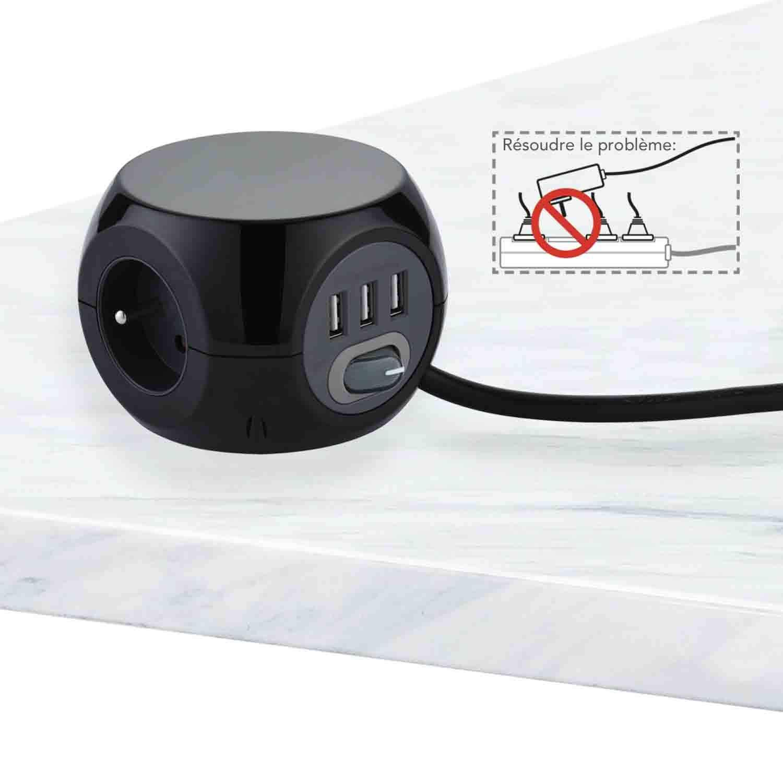 Rallonge Multiprise 3M Noir Bloc 3 Prises avec Interrupteur Electraline 35441 Mini Cube avec 3 Ports USB 2.4A