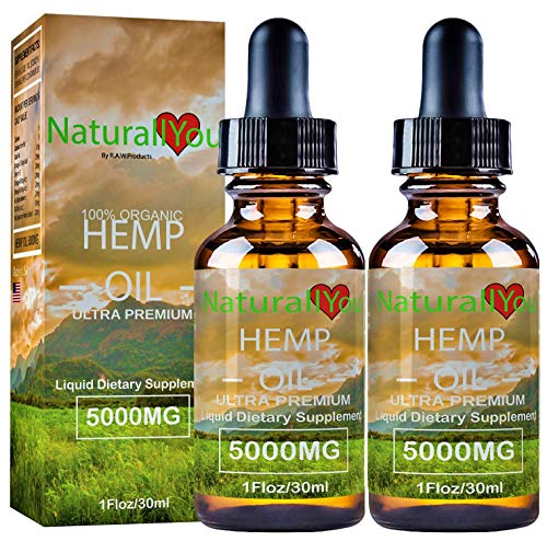 (NaturallYou (2-Pack) Organic Hemp Oil for Pain Relief | 5000mg All Natural Pure Hemp Oil Extract for Sleep, Stress, Anxiety, Inflammation, Skin Health | USA Made | 2-Pack 30ml Each (No THC))