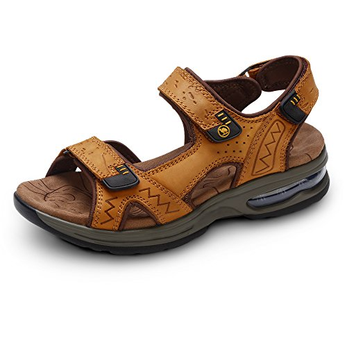 Camel Men's Soft Footbed Leather Sandals Comfortable Open Toe Walking Shoes for Summer Outdoor Claybank 9.5 D(M) US by Camel