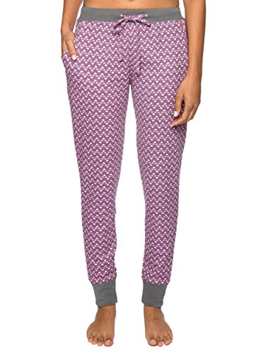 Women's Waffle Knit Jogger Lounge Pants - Hearts Multi Charcoal/Pink - X-Large
