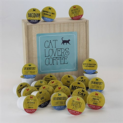 CAT LOVER'S Single Serve Coffee Variety Cups - 24 Cups In A Keepsake Wooden Gift Box