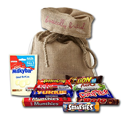 10 British Nestle chocolate bars in Basically British Burlap Bag - KitKat, Aero, Lion, Rolo, Milky Bar Buttons and more!