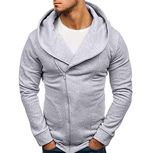 HULKAY Men's Hooded Sweatshirt Premium Elegant Long Sleeve Patchwork Hoodies Tops T-shirt Outwear(Gray,2XL) -
