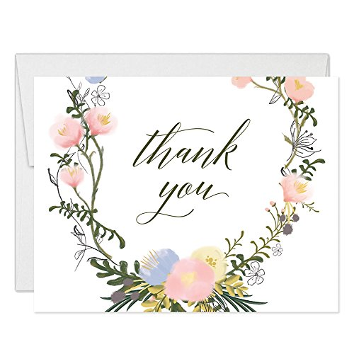Delicate Floral Blooms Thank You Notecards with Envelopes ( Pack of 50 ) Folded Blank All Occasion Christening Baby Shower Bride Groom Wedding Gift Thanks Note Excellent Value Thank You Cards VT0048