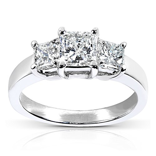 cut Diamond Engagement Ring 1 5/8 Carat (ctw) in 14k White Gold (Certified), Size 8, White Gold (3 Stone Radiant Cut Diamond)