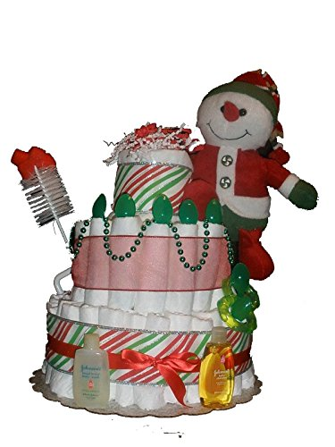 Christmas Holiday - Snowman Diaper Cake - Baby Shower Centerpiece or Gift