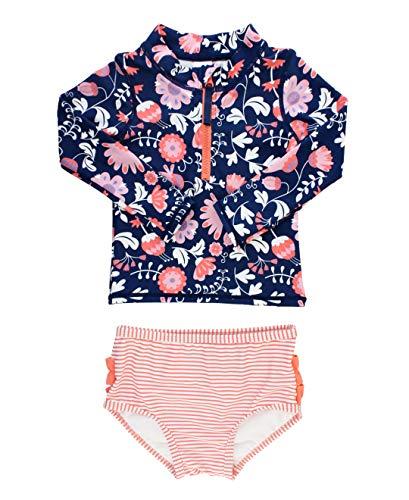 RuffleButts Little Girls Botanical Beach Long Sleeve Zipper Rash Guard Bikini - 4T