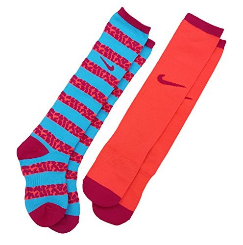 Nike Girls' Graphic Knee High Socks 2 Pack 13C-3Y/6-7