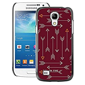 A-type Arte & diseño plástico duro Fundas Cover Cubre Hard Case Cover para Samsung Galaxy S4 Mini i9190 (NOT S4) (Arrow Text Fire Text Maroon Brown)