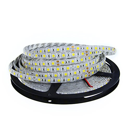 ALITOVE DC 24V 32.8ft 5050 SMD LED Flexible Strip Light Warm white 10M 600 LEDs 60LEDs/M IP65 Waterproof LED Rope Light Strips for Home Garden Commercial Area Lighting