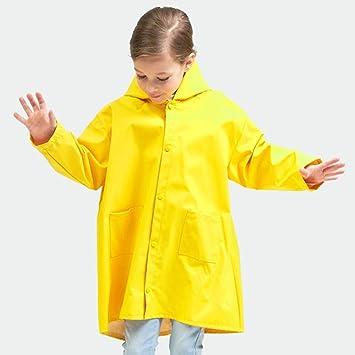 Enfants Filles Garçons PU Imperméable Veste Citron imperméable à capuche rainmac Coupe-vent 5-13Y