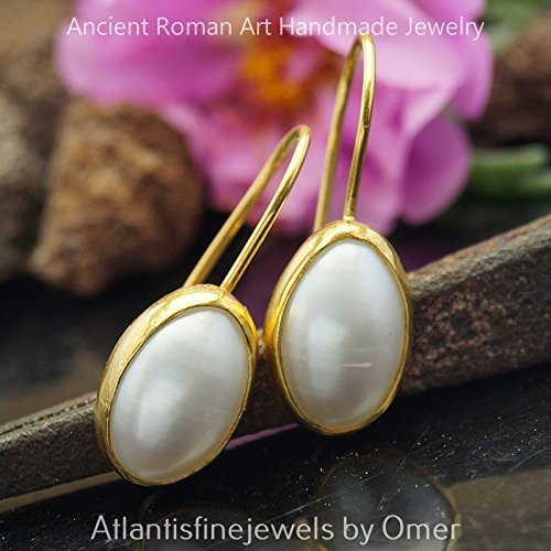 (ROMAN ART DROP PEARL EARRINGS BY OMER 24K YELLOW GOLD OVER 925 STERLING SILVER)