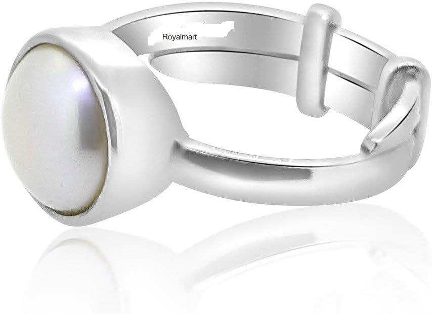 Royalmart 13 Ratti Certified Original Pearl//Moti Gemstone Silver Adjustable Ring For MEN and Women