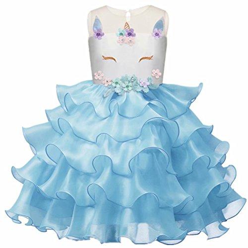 (Girls Unicorn Dress Costume Kids Princess Holloween Party Tutu Dresses)