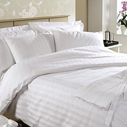 Buy Linenwalas 300 TC Double Bed Stripes Cotton Quilt Cover -White ... : white cotton quilt cover - Adamdwight.com