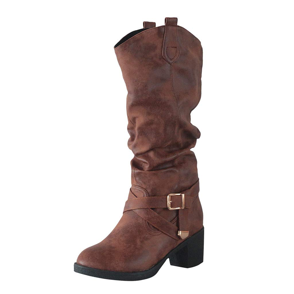Fheaven Women's Leather Knee Boots, Stacked Heel Knee High Boot Flat Heel Zipper Buckle Riding Boots Brown by Fheaven-shoes