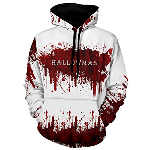 FEDULK Unisex 3D Bloodstain Print Fashion Pullover Halloween Graffiti Hooded Hoodie Sweatshirt Shirt(White, Large)