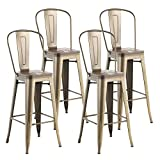 mecor Metal Bar Stools Set of 4 with Removable Backrest, 30'' Dining Counter Height Chairs with Wood Seat (Silver)
