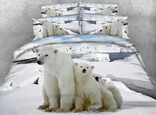 JF-126 Lovely polar bear bedding for kids single bed 3D parure de lit adulte double king duvet cover housse de couette full size
