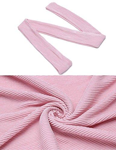 Pleated 4 Neck Lace Misakia Dress Women V 3 Cocktail Party Pink Line Elegant Sleeve A ZggvwAWq