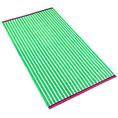 Oversized Stripe Velour Beach Towel (104190) (Kiwi)