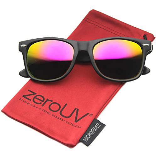zeroUV ZV-8025-05 Retro Matte Black Horned Rim Flash Colored Lens Sunglasses, Classic | Black / Magenta, - Sunglasses Size 50mm