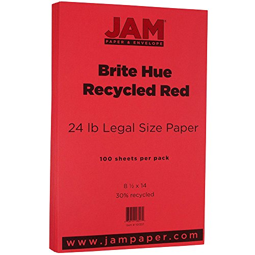 """UPC 639713265170, JAM Paper Recycled Legal Paper - 8.5"""" x 14"""" - 24 lb Brite Hue Red - 100/pack"""
