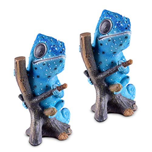Chameleon Solar Garden Decorations Figurine | Outdoor LED Decor Figure | Light Up Decorative Statue Accents for Yard, Patio, Lawn, Balcony, or Deck | Great Housewarming Gift Idea (Blue, 2 ()