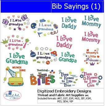 (Threadart Machine Embroidery Designs - Bib Sayings(1) - USB Stick)