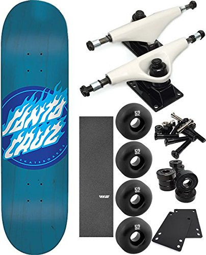 Santa Cruz Skateboards Blue Flame Dot Men's Varsity Jackets Complete Skateboard - Bundle of 7 items
