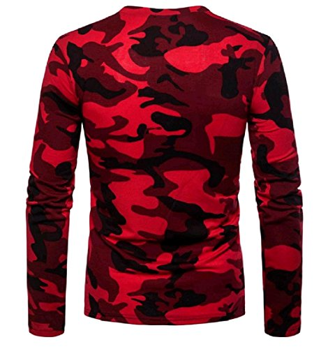 Zipper Men's Camouflage Shirt Oblique Leisure EnergyMen Tee Pullover Red wOPxCxq74