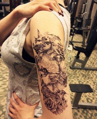 Temporäre Körperkunst Entfernbare Tattoo Aufkleber Vögel - QS-A057 Sticker Tattoo Temporary Tattoo - FashionLife