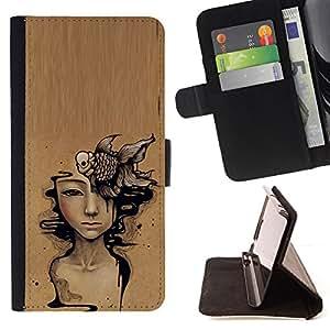 DEEP MEANING BROWN WOMAN ART PAINTING/ Personalizada del estilo del dise???¡Ào de la PU Caso de encargo del cuero del tir????n del soporte d - Cao - For Apple Iphone 6 PLUS 5.5