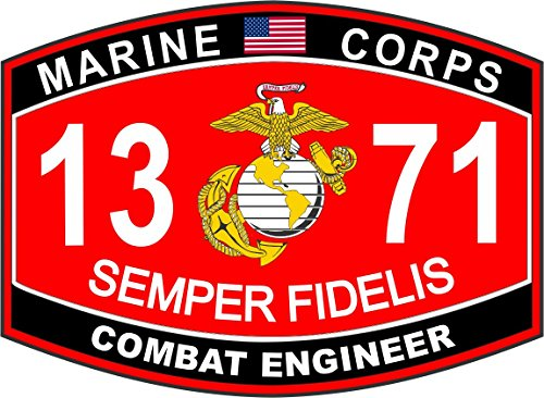 Marine Corps Combat Engineer - Combat Engineer Marine Corps MOS 1371 USMC US Marine Corps Military Window Car Bumper Sticker Vinyl Decal 3.8
