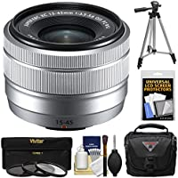 Fujifilm 15-45mm f/3.5-5.6 XC OIS Power Zoom Lens (Silver) with 3 Filters + Case + Tripod + Kit