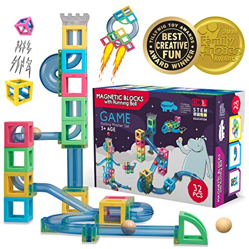 Hippococo Magnetic 3D Building Blocks with Marble Run Game: New Innovative STEM Educational Toy for Boys/Girls, Durable, Sturdy & Safe Construction Set, Promote Kids Creativity & Imagination (32 - Marbles T-rex
