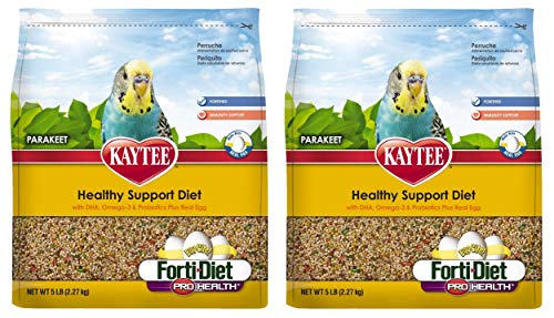 - Kaytee Forti Diet Egg-Cite Bird Food for Parakeets, 5-Pound Bag 2 Pack