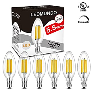 806lm Super Bright 4000K Dimmable LED Candelabra Bulb, 5.5W Natural Daylight White, E12 Bulb Equivalent Fully Dimmable LED Bulbs,UL Listed, no Flickering LED Light Bulb, 360 Degree Beam Angle, 6 Pack