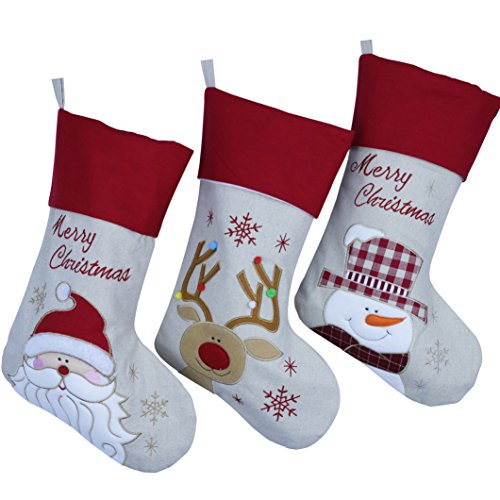 Wewill Lovely Christmas Stockings Set of 3 Santa, Snowman, Reindeer, Xmas Character 3D Plush Linen Hanging Tag Knit Border (Disney Characters Male)