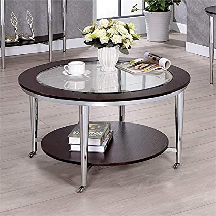 Amazon Com Furniture Of America Ellie Round Glass Top Coffee Table