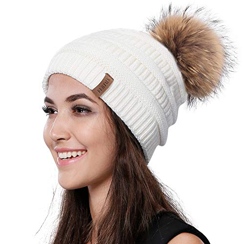 Womens Winter Knit Beanie Hat Slouchy Skull Cap Real Fur Pom Pom Hats Cap For Girls Double Layer Warm FURTALK ()