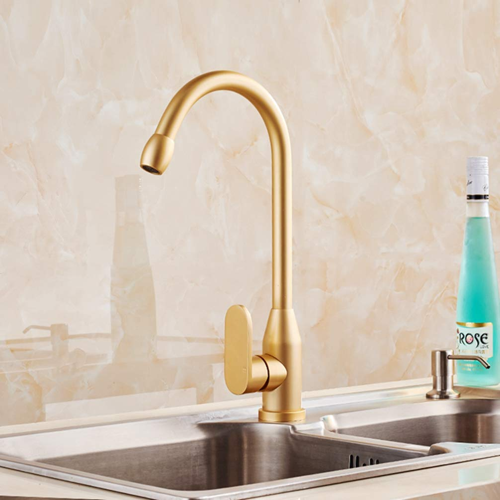 FZHLR Gold Kitchen Faucet Space Aluminum Single Handle Hot Cold Water Vessel Sink Basin Tap Mixer Torneira Cozinha 360 Rotating
