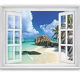 PHOTO WALLPAPER,Tropical Window 2T3' 183 x 127 cm sea ocean beach palms wallpapers wall mural window view tropic carribean bay