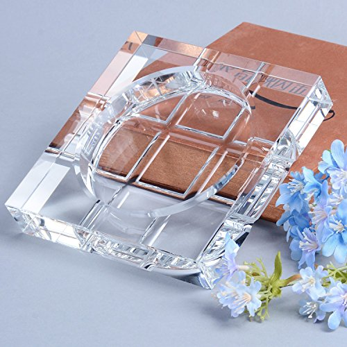 BRLIGHTING Cigar Ashtrays Clear Crystal Ashtray for Indoor Outdoor Diameter 5.7inch Big Ash Tray for Hotel Office Tabletop Decor Square Crystal Ashtray