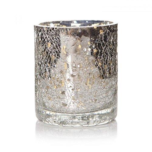 6x Silber Crackle Vintage Glas Teelicht Kerze Laternen Lampenfassungen Geschenk-Set