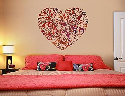 Decals Design Heart Floral Wall Sticker (PVC Vinyl, 60 cm x 60 cm)