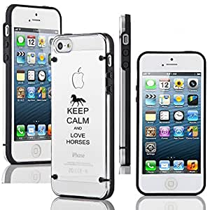 Apple iPhone 5 5s Ultra Thin Transparent Clear Hard TPU Case Cover Keep Calm and Love Horses (Black)