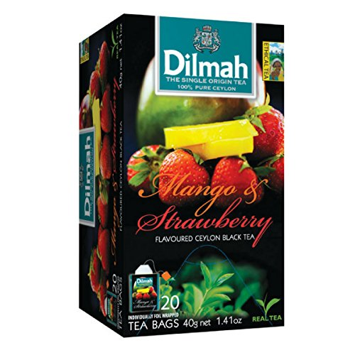 Dilmah Mango and Strawberry Flavored Ceylon Black Tea - 20 Tea Bags - Sri Lanka Ceylon Dilmah Mango Strawberry Tea Real Tea