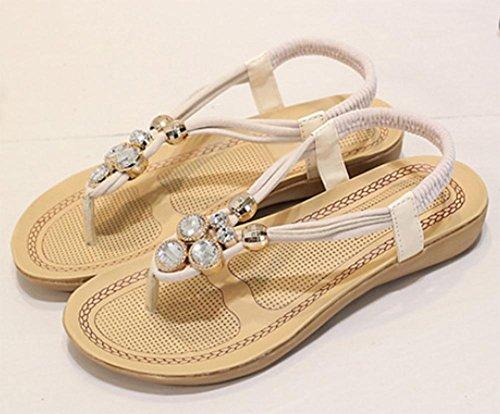 Frauen Fischgrät Edelstein Studenten und flache Sommer Pantoffeln Sandalen Sandalen klemmen Sandalen weiblichen Diamant white Schuhe meters 5gtFq